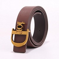 Samplefine2 DIOR Fashion Women Chic Metal Buckle Multicolor Leather Belt Coffee
