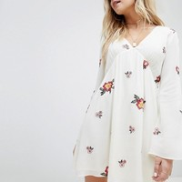Honey Punch Swing Dress With All Over Embroidery at asos.com