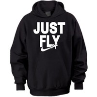 Just Fly Retro Adult Hoodie - Medium - Black/White