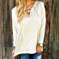 Women Autumn Long Sleeve V- Neck Pocket Pure Color Lace-up Front Hooded Hoodies Blouse Loose Tops S-XL = 5618518721