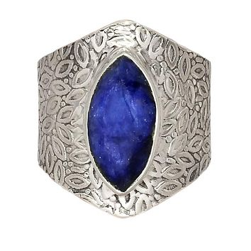 Sapphire Sterling Silver Vine Pattern Band Ring