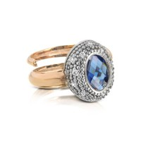 Rebecca Designer Rings Gold-Plated Bronze Ring with Blue Stone