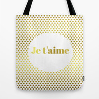 Je t'aime Tote Bag by Laura Maria Designs