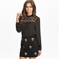 Black Long Sleeve Chiffon Top with Lace