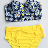 Cupshe Flower Play Daisy High-waisted Bikini Set