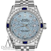 Rolex 31mm Datejust Jubilee Ice Blue Color Dial Sapphire & Diamond Bezel Accent