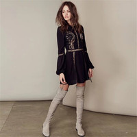 """""""Free People"""" Fashion Solid Color Lace Hook Flowers Hollow Long Sleeve Mini Dress"""