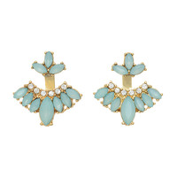 """Gold tone ear jacket earring featuring mint green cabochons with rhinestone accents. Approximately 1"""" in length."""