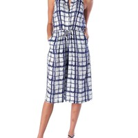 Strolling Around Grid Jumpsuit - White/Navy