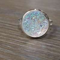 Druzy Ring- Rainbow clear drusy silver tone druzy ring