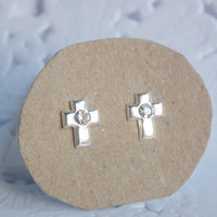 5 x 7 mm Cross Sterling Silver Earring with Clear CZ Cubic Zirconia  - Unisex gift under 10