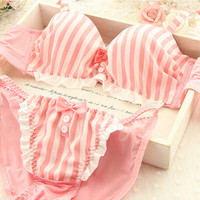 Free Ship - Pink stripe bow kawaii Bra & Panty Set (c)