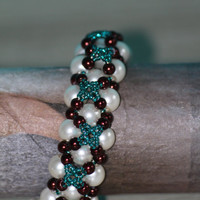 Wedding beaded bracelet with nacreous white, shiny brown and turquoise tekla beads. Turquoise cross. Turquoise star. / weddign gift