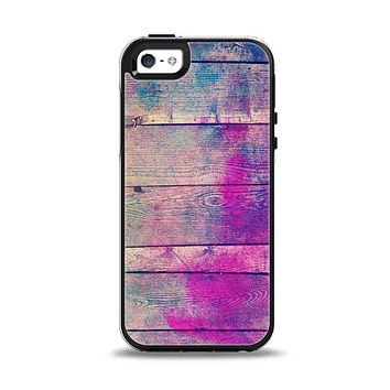 The Pink & Blue Grunge Wood Planks Apple iPhone 5-5s Otterbox Symmetry Case Skin Set