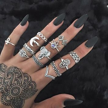 10Pcs Vintage Totem Ring Set(random)