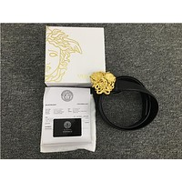 Versace Medusa Gold Head Black Leather Belt