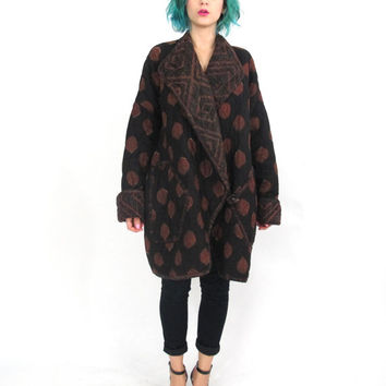 80s Quilted Cocooon Coat Anokhi Indian Cotton Jacket Black Brown Polka Dot Artsy Abstract Print Oversize Collar toggle Winter Coat (L/XL)