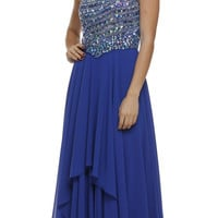 One Shoulder Studded Bodice Royal Blue Layered Long Party Dress