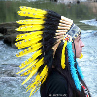 PRICE REDUCED Yellow Native American Headdress, War bonnet, Chief Indian Hat, Native American costume,  Burning man, Rave outfit, Edc, Edm