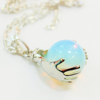 Opalite Hands Necklace, Opal Necklace, Opal Pendant, Gemstone Jewelry, Gemstone Necklace, Gemstone Pendant, Semi Precious Gemstones