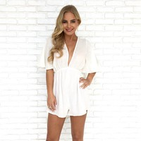 Honeymoon Coverup Romper in White