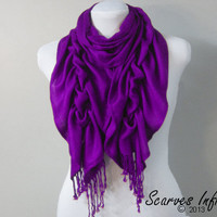 Ruffle Scarf, Pashmina Scarf, Beautiful Purple Scarf by Scarves Infinity