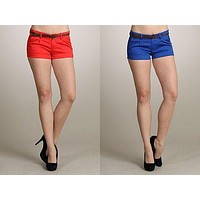 New Womens Sexy Stretch denim Shorts Pants solid Colors low waist with belt