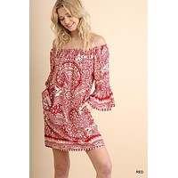 Paisley Off Shoulder Dress - Red