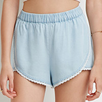 Crocheted Chambray Tulip Shorts