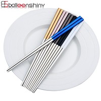 BalleenShiny 1 Pairs Stainless Steel Chopsticks Plating Gold Square Chopsticks Sushi Reusable Metal Pattern Chop Sticks Flatware