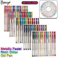 Bianyo 60pcs Gel Pen Set Refills Metallic Pastel Neon Glitter Sketch Drawing Color Pen School Stationery Marker for Kids Gifts