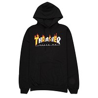 Thrasher New fashion bust flame letter hooded long sleeve sweater top Black