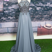 Spaghetti Straps Prom Dresses,Grey Prom Dress,Long Evening Dress