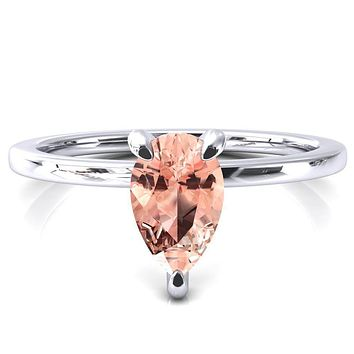 Rosy Pear Champagne Sapphire 3 Claw Prong Single Rail Micropave Engagement Ring
