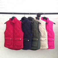 puffer vest -Olive color left  **Expected ship date: