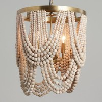 Whitewash Wood Draped Bead 4 Light Chandelier