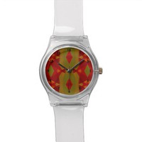 Warm Retro Pattern in Olive Gold Red Watch