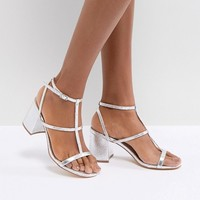 Glamorous Silver Heel Caged Sandals at asos.com
