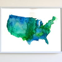 Modern United States Of America Map Watercolor Poster Explore Travel Gift Print Bedroom Wall Decor