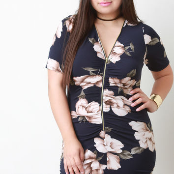 Floral Ruched Zip Up Bodycon Mini Dress