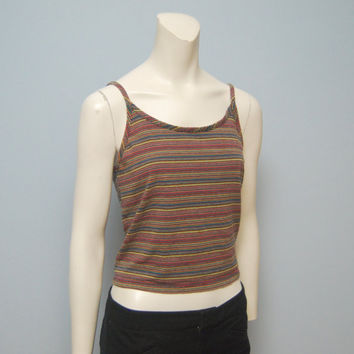 Vintage 1990's GAP Stripped Crop Tank Top - Cotton/Spandex Blend - Spaghetti Straps - Size Small