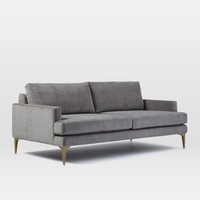"Andes 76.5""Sofa, Performance Velvet, Stone, Blackened Brass"