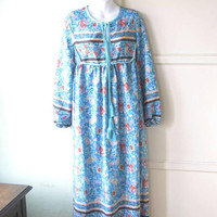 Floral Turquoise Hippie Lounge/Cover-Up/House Dress; Women's Medium Long-Sleeve Dress w/ Piped Bib & Tassel Ties; U.S. Shipping Included