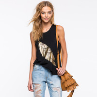 SIMPLE - Fashionable Floral Gold Slim Round Necked Top Women Tank Vest b4330