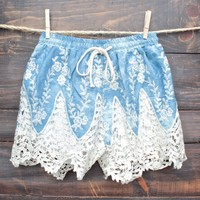 FINAL SALE - boho dreams high waisted shorts - denim crochet