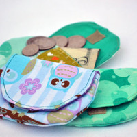 Set of three coin purses, change purse, stocking stuffers in greens and blues