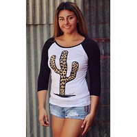 Leopard Cactus Baseball Tee by Original Cowgirl Clothing Company  TJ-1959