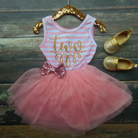Two Birthday Pink & White Stripe Sleeveless Tutu Dress and Pink Sequin Bow - Toddler Dress -  Second Birthday Dress - Tutu Skirt Dress