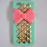 Pink Bow With Pyramid Studded Iphone 5 Hard Case In Mint Green/Mint Pink/Pink/White/Black