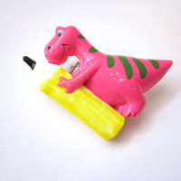 Vintage Children Plastic brooch - Pink Dinosaur with a pancil - Dragon brooch